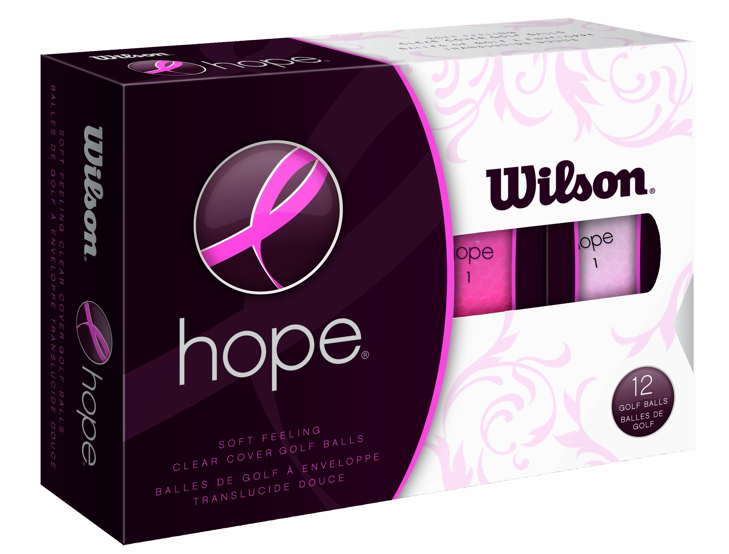 Wilson Hope 12 Ball Ladies Golf Balls (Pink/Hot Pink) by Wilson