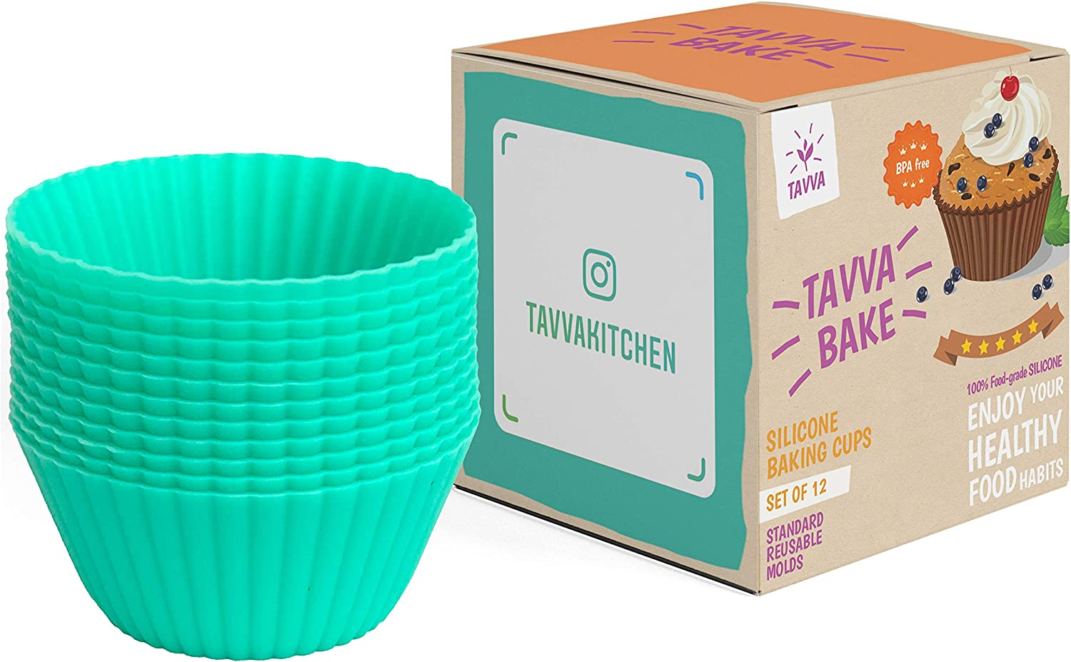 Silicone Baking Cups, Reusable Cupcake Liners Non-stick Muffin Cups Cake Molds Cupcake Holder, 12 Packs