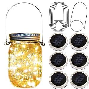 Solar Mason Jar Lid Lights,6 Pack 20 Led Fairy Firefly String Jar Lids Lights,6 Hangers 16ft Hemp Rope Included(No Jars),Outdoor Solar Lantern for Patio Yard Garden Wedding Party Table Decor