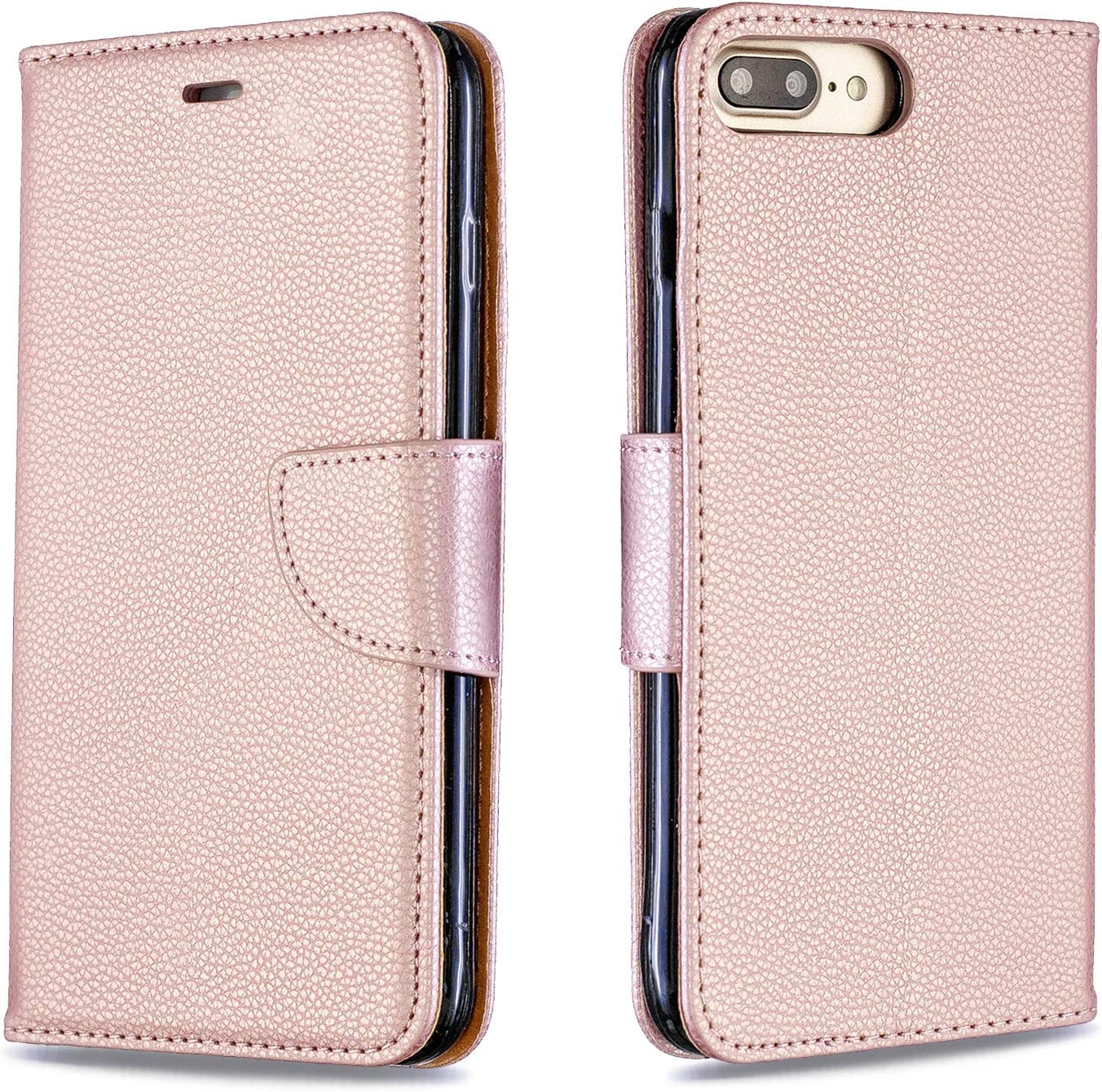 PU Leather with Silicone TPU Shell Kickstand Card Holder Hand Strap Money Slot Magnetic Closure Flip Case Compatible with iPhone 7 Plus//8 Plus Compatible with iPhone 7 Plus Phone Case Wallet Leather
