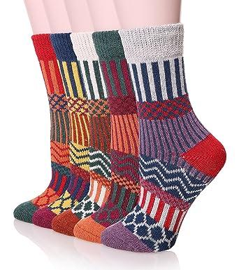 wo kann ich kaufen mehrere farben am besten bewerteten neuesten Bllatta Warme Socken Damen Dicke Baumwolle Stricksocken mit Wolle Niedlich  Karikatur Tiere Charakter Socken EU 35-40 (5 Paar)
