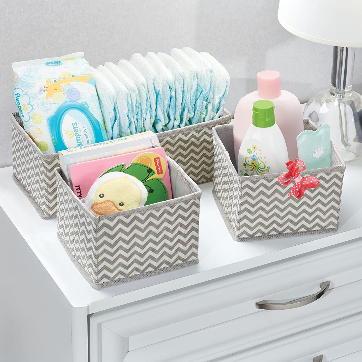 Amazon.com: mDesign Soft Fabric Dresser Drawer and Closet Storage Organizer for Kids/Toddler Room, Nursery, Playroom, Bedroom - Chevron Zig-Zag Print ...