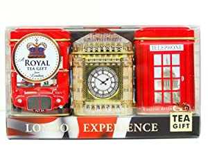 English Tea Mini Caddy Gift Set, London Experience - 3 x 25g Tea Caddies Gift Pack