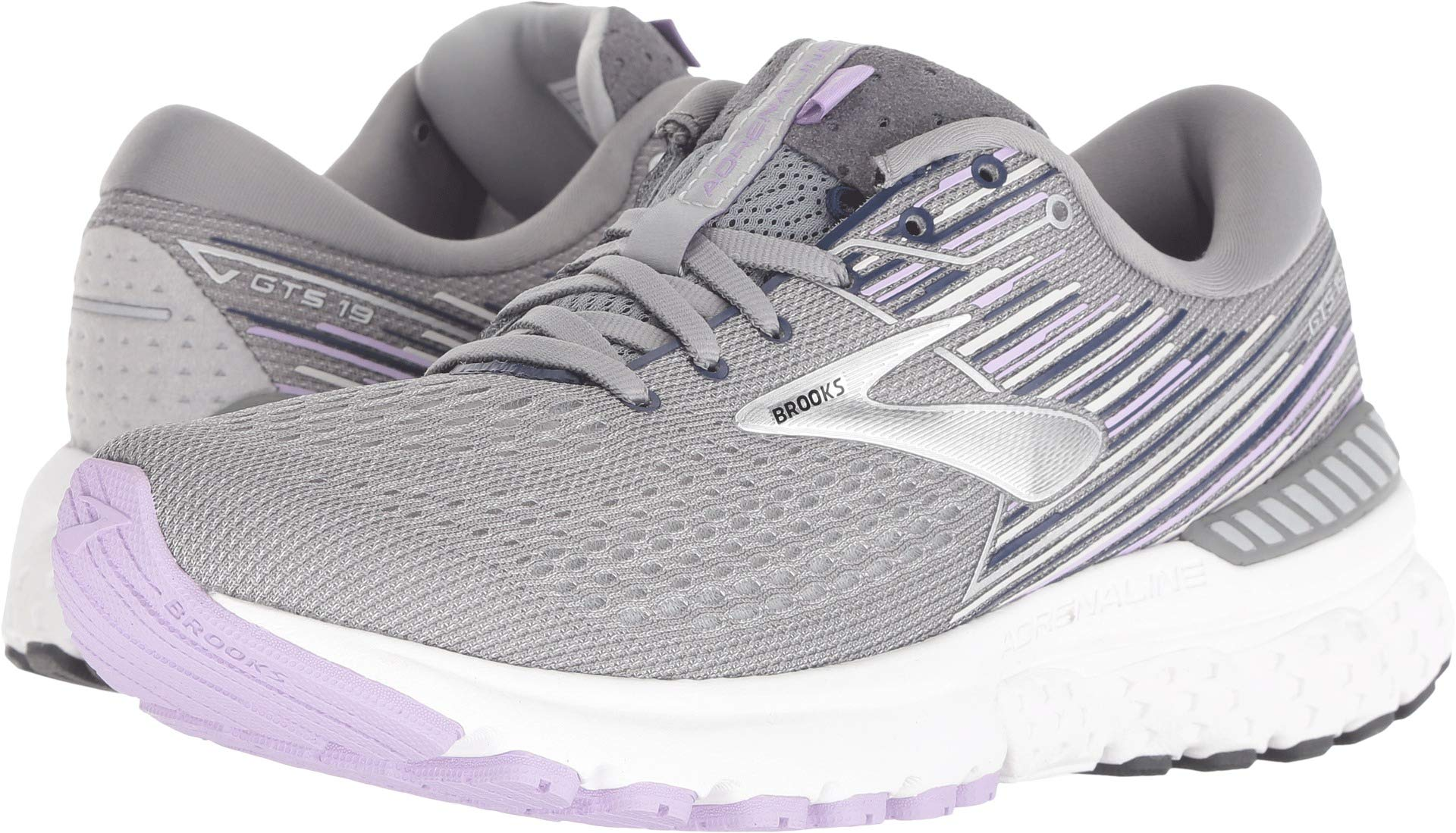 Brooks Women's Adrenaline GTS 19 Grey/Lavender/Navy 5 B US by Brooks