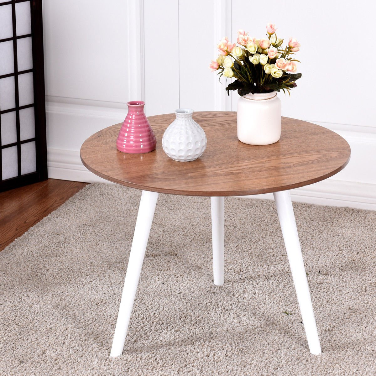 Amazon.com: Coffee Table Modern Round Side Tea End Table ...