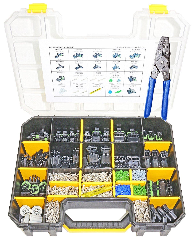 Delphi Weather Pack Connector Kit WP-1104 Sealed Weatherproof Automotive Electrical Connectors 20-12 Gauge 1104 Piece Kit