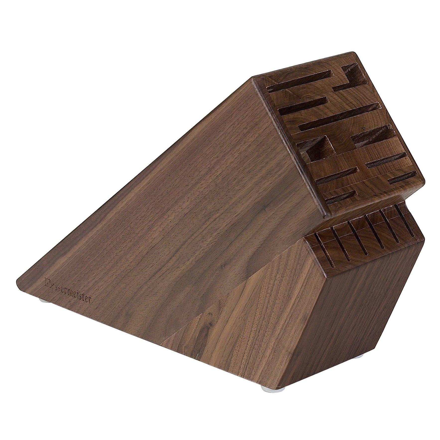 Messermeister Walnut 16 Slot Knife Block, Brown