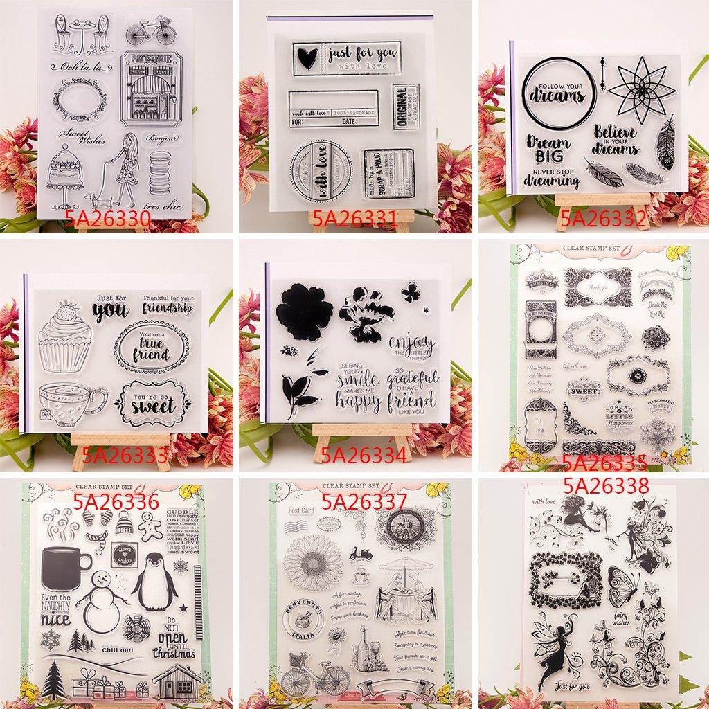 Runrain Tampon en Silicone Scrapbooking Album en Silicone tampons en Silicone Motif c/œur d/écoration de Scrapbooking