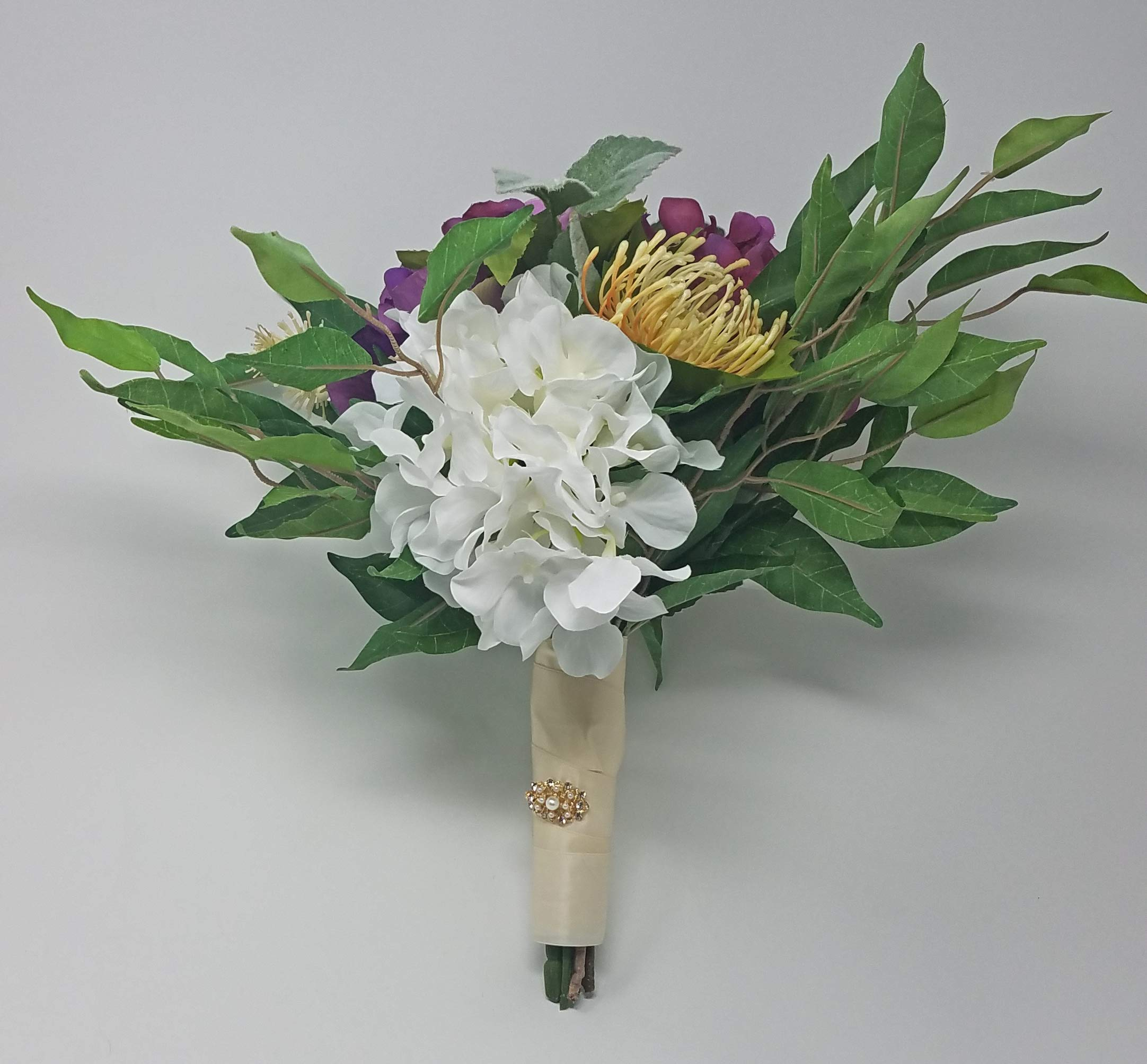 silk flower arrangements wedding bouquet cottage french mixed flowers in plum and white