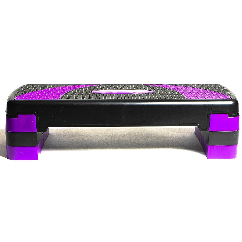 Step A/érobic dexercice 10//15//20cm Plateforme /à Hauteur R/églable; 78 x 28 cm PRISP Stepper dA/érobic et de Fitness 78 cm /à 3 Niveaux