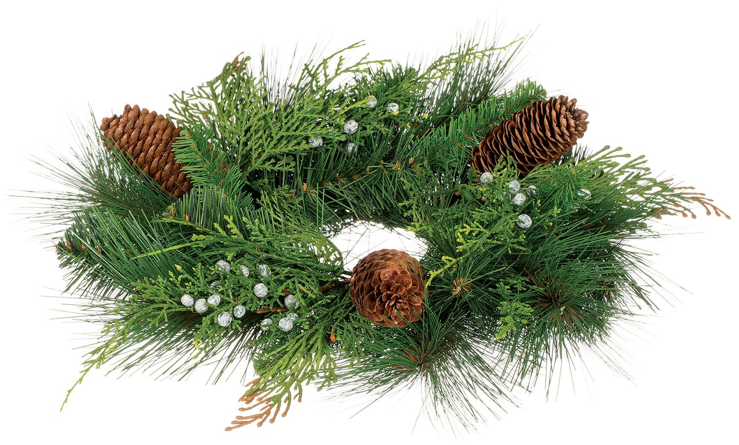 13 Inch Diameter Christmas Mixed Pine Pillar Candle Ring With Cedar, Berries and Pine Cones