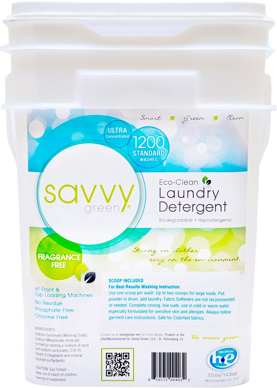Savvy Green Ultra-Concentrated Laundry Detergent Powder, 32lbs, 1200 Standard Washes
