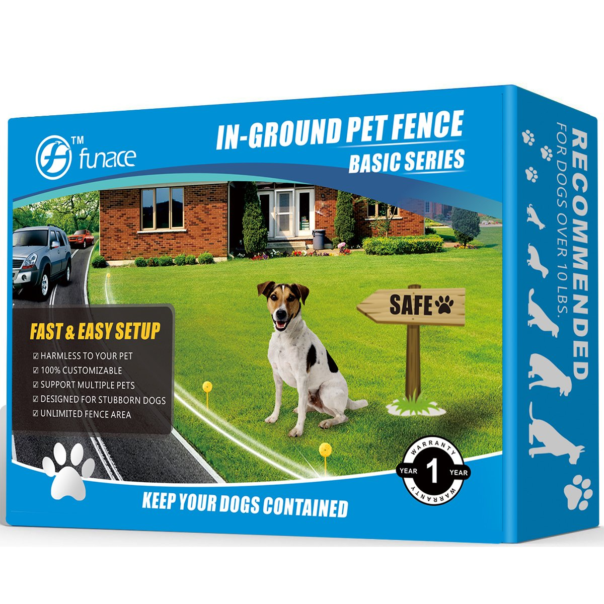 Radio Wave Electric Dog Fence System by FunAce - Invisible In-Ground Wired Pet Containment Kit - Support Small Medium Large Stubborn Dogs over 10 lbs. - Beep & Shock Rechargeable Collar (2 Dogs)
