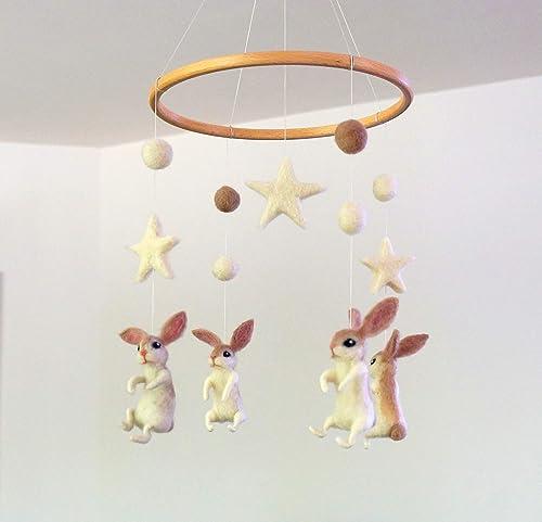 Girl Nursery Mobile Mobile for Crib Velvet Felt Mobile Deer Mobile Baby Shower Gift Handmade Felt Mobile Baby Mobile