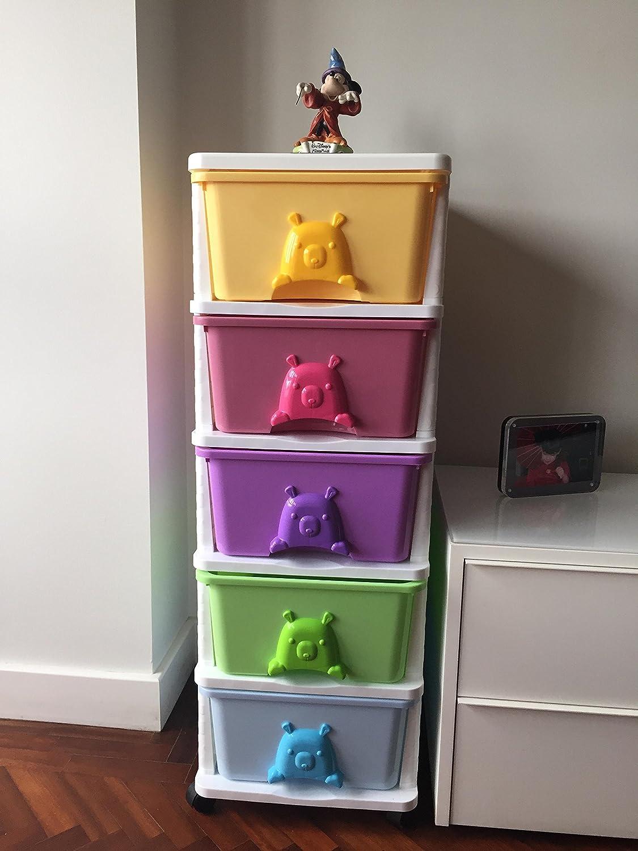 Cajonera Infantil Con Ruedas Modulo 5 Cajones De Colores  # Muebles Jugueteros Para Ninos