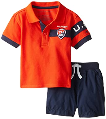 0833e0ea Tommy Hilfiger Baby Boys' Athletic Pique Polo and Short Set, Laser Beam, 3