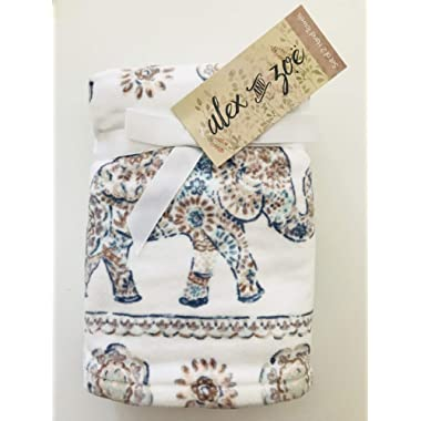 Elephant Parade Set of 2 Hand Towels Bathroom 100% Ultra Absorbent Cotton Browns Blues by Alex & Zoe