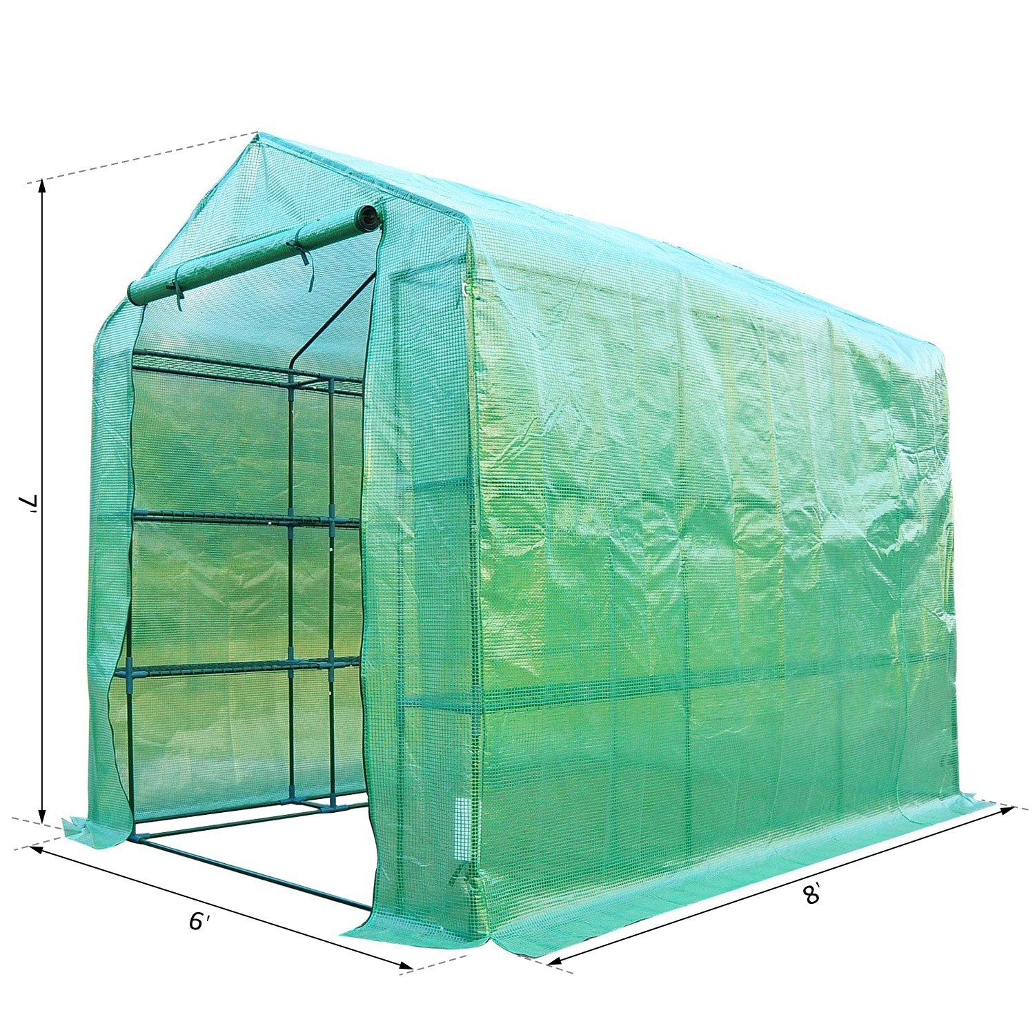 Outsunny 8' x 6' x 7' Outdoor Portable Walk-in Greenhouse by Outsunny (Image #7)