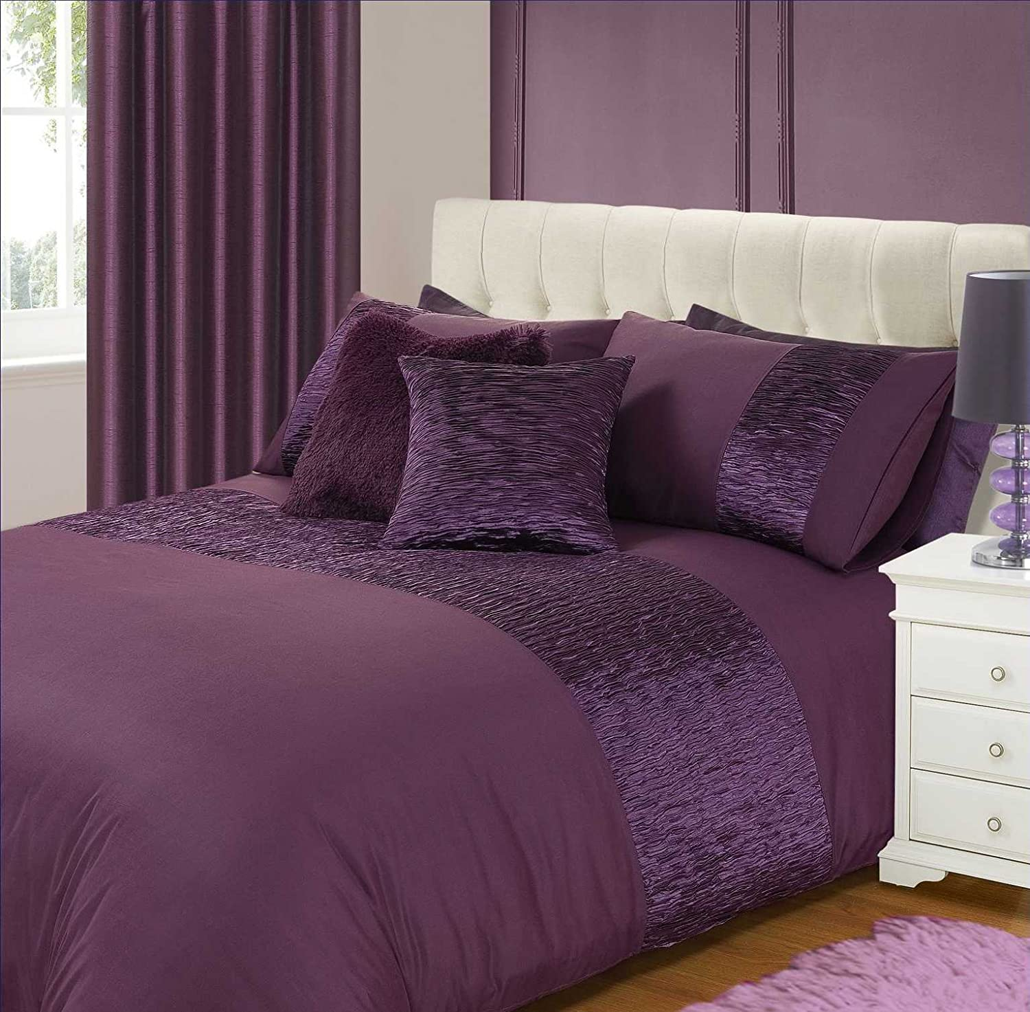 King Size Bed Freya Duvet / Quilt Cover Bedding Set Pleated Purple ...