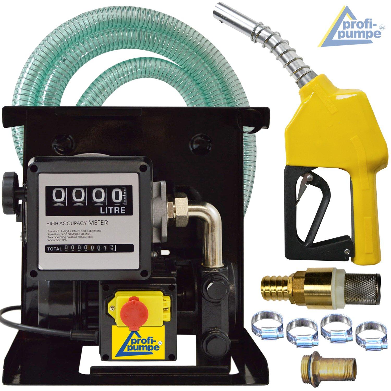 POMPA TRAVASO OLIO-POMPA AUTOADESCANTE EXELENZ-3 pompa gasolio pompa diesel con PISTOLA AUTOMATICA + CONTATORE, TUBO FLESSIBILE, CONNETTORI in ottone e VALVOLA NON RITORNO POMPA ASPIRAZIONE Amur