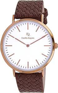 ايميليو زاجاتو ، ساعة عملية كاجوال جلد ، انالوج بعقارب للنـساء - BEZ40001-805