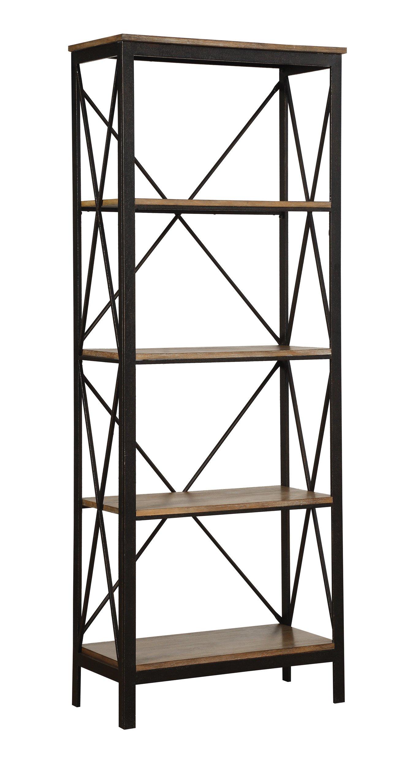 Homelegance Text Industrial Rustic 4-Tier Two-Tone Metal Bookcase, Black/Brown
