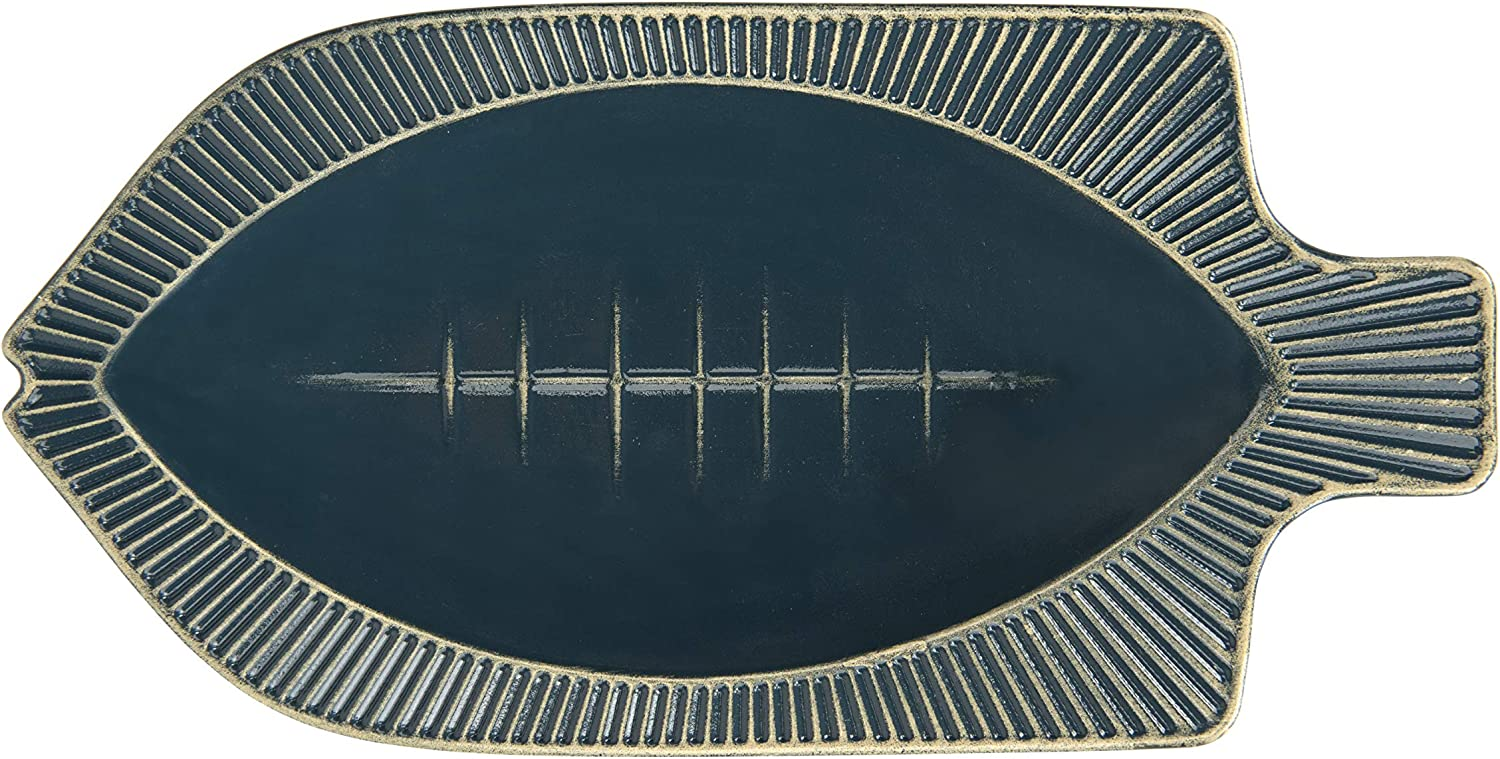 Creative Co-op Decorative Blue Embossed Metal Shaped (Hangs or Sits) Fish Tray, 12 Inch