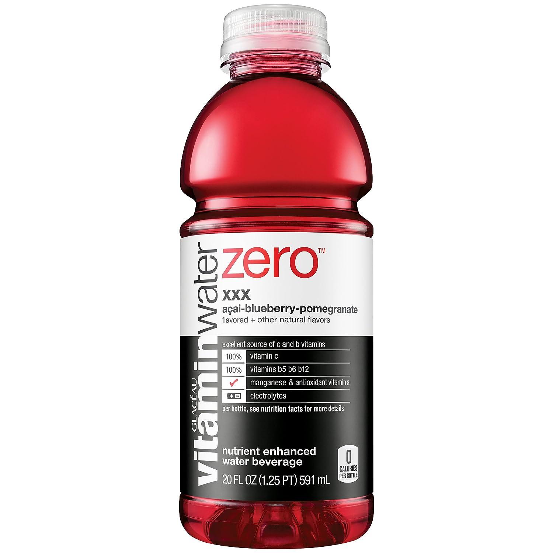 vitaminwater zero xxx, electrolyte enhanced water w/ vitamins, açai-blueberry-pomegranate drink, 20 fl oz