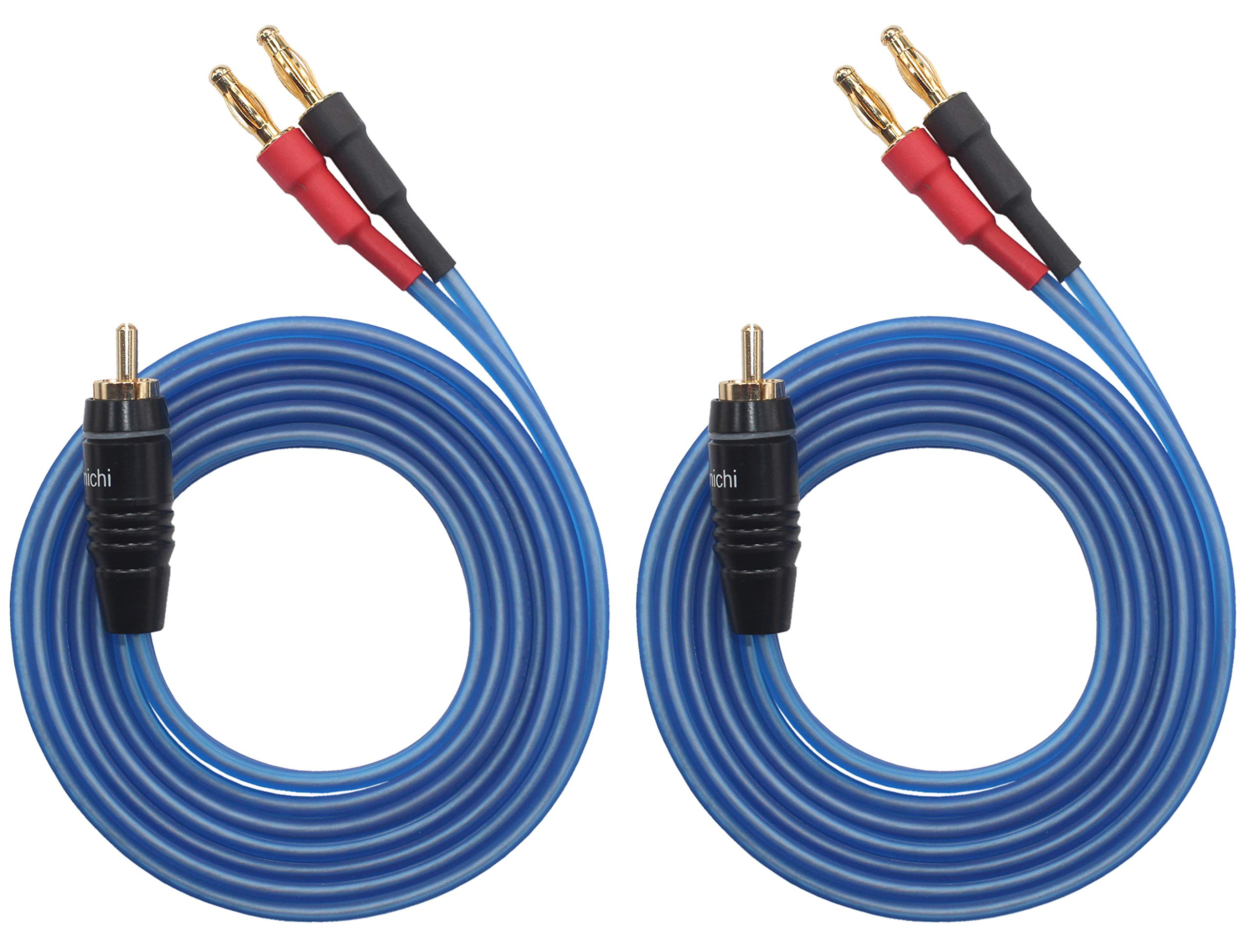 KK Cable Q-P2 18 GAUGE OFC Speaker Wire Pair with RCA Male (White & Red) to 2 Pair Banana (4banana) Plugs, Q-P2 (3M(9.8ft))