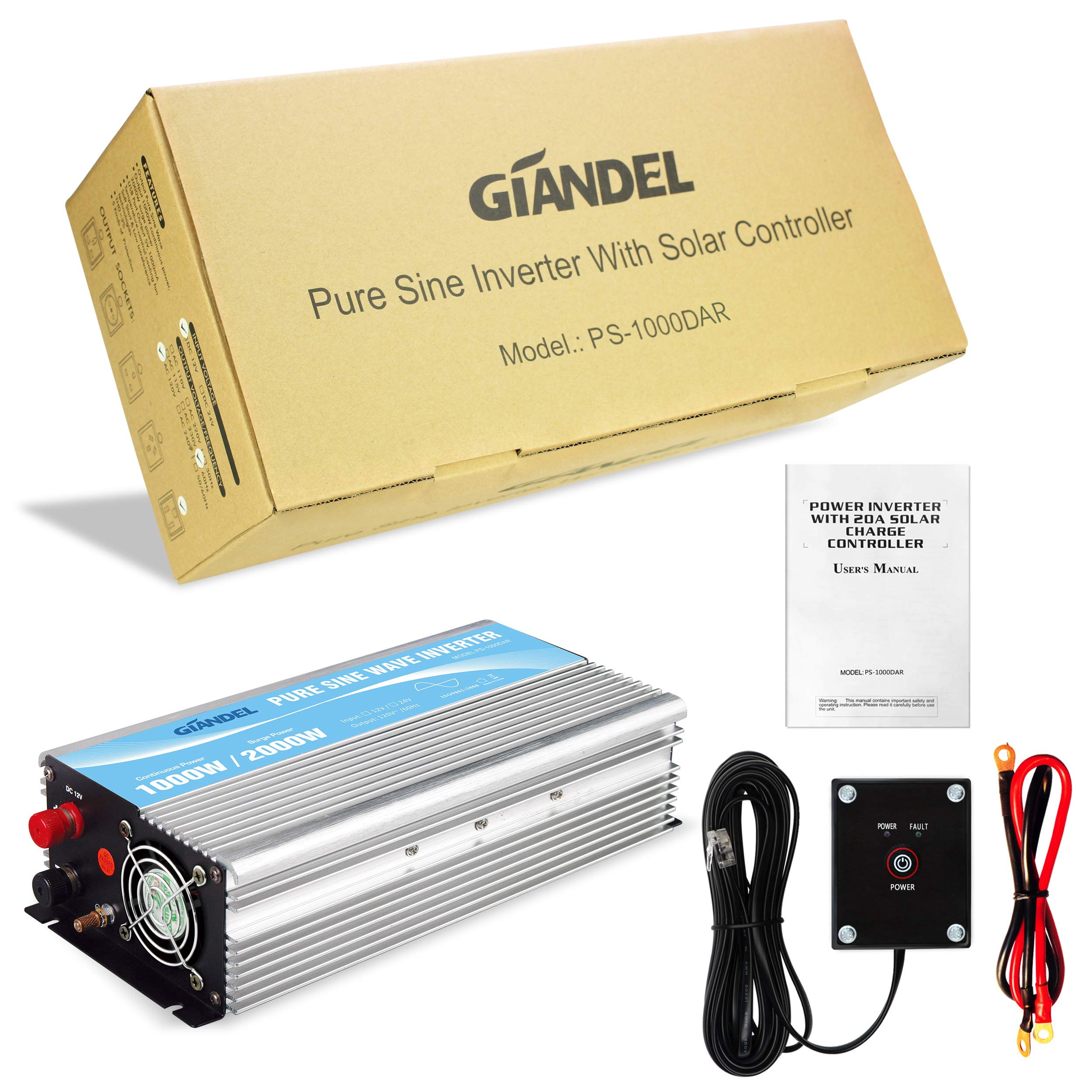 Giandel Pure Sine Wave Power Inverter 1000W DC 24V to AC 110V 120V with Remote Control with Dual AC Outlets &1A USB Port for RV Truck Car Solar System and Emergency by Giandel (Image #6)