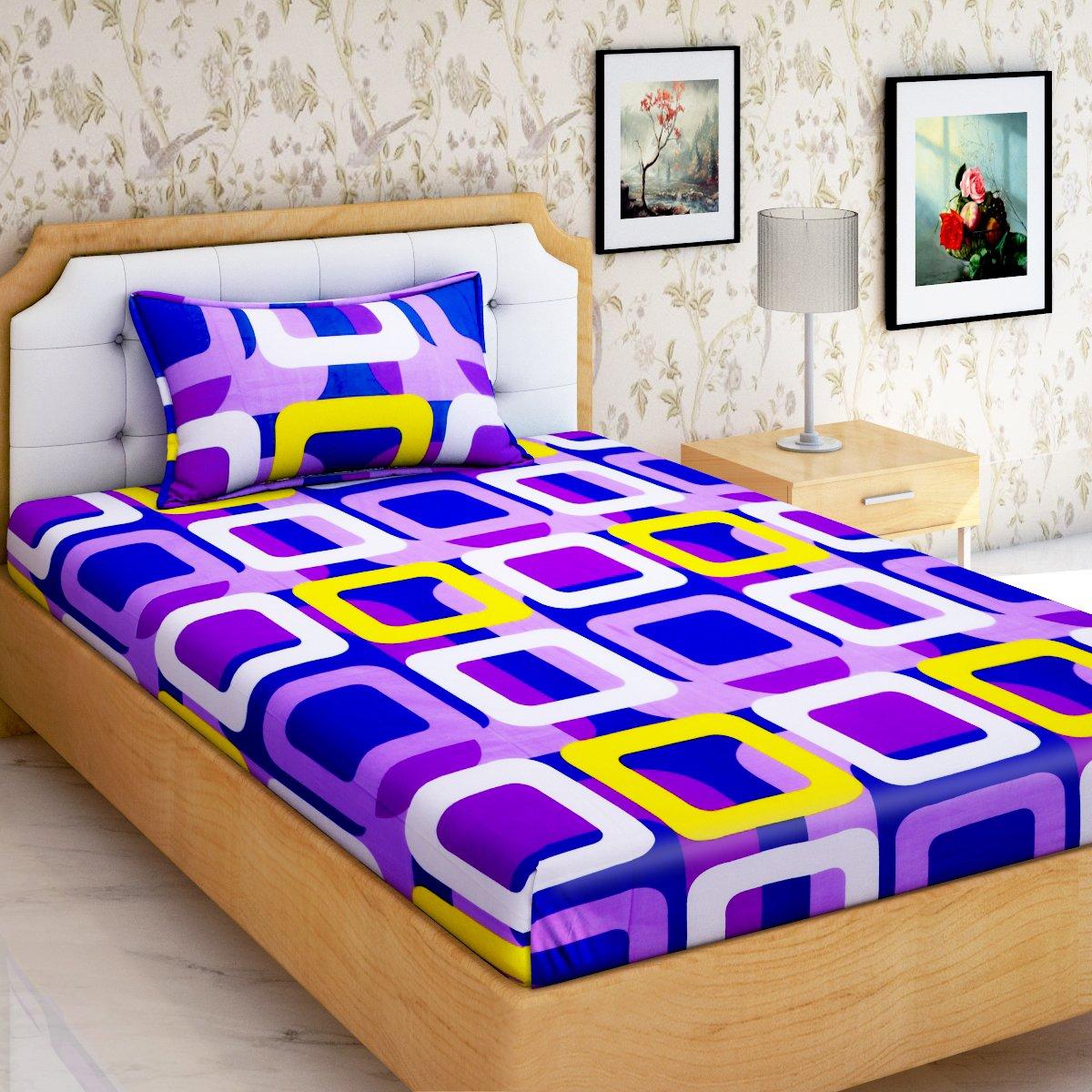 HOME ELITE 144 TC Printed 100% Cotton Single Bedsheet