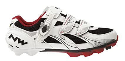 Zapatillas Ciclismo Mujer para Mountain Bike Northwave Vega SBS blanco negro rojo.