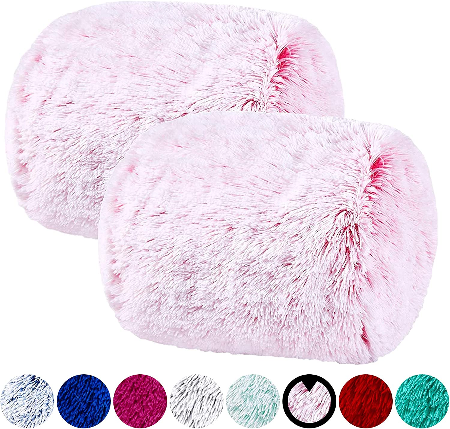 VCNY Home | Fluffy Faux Fur Decorative Pillow Set, Soft Fuzzy Fun Pillow for Kids Teens and College Decor, 2 Pack, Pink