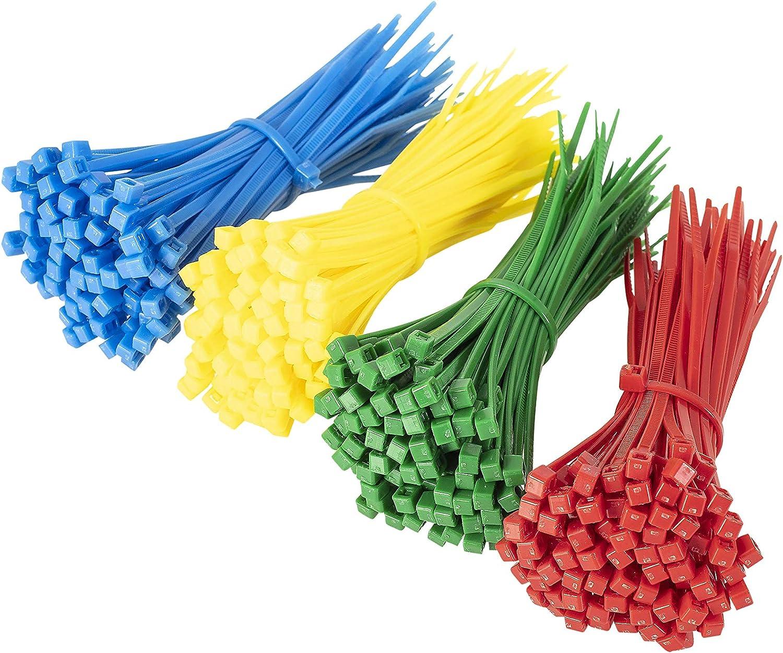 GTSE - Juego de 400 bridas para cables (150 mm x 3,6 mm, 4 tamaños), color rojo, azul, verde y amarillo