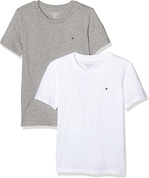 Tommy Hilfiger Cotton cn tee ss icon 2 pack camiseta, Multicolor (White-Grey Heather), 164-176 cm para Niños: Amazon.es: Ropa y accesorios
