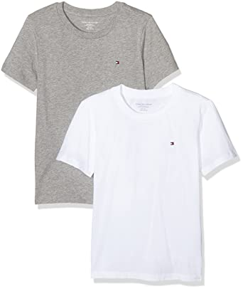 b421bbcf Amazon.com: Tommy Hilfiger 2-Pack Icon Cotton Crew-Neck Boys T-Shirts,  White/Grey Heather: Clothing