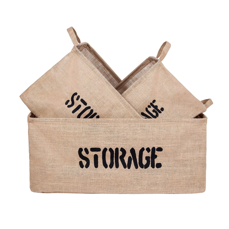 DOKEHOM DKA0614BNG 3 Piezas Yute Cestas de almacenamiento (14, 17 Y 22), Bolsas para la colada, Gran ropa de cama de algodón cuadrados juguete plegable cesta 17 Y 22) IMOTECH TECHNOLOGY