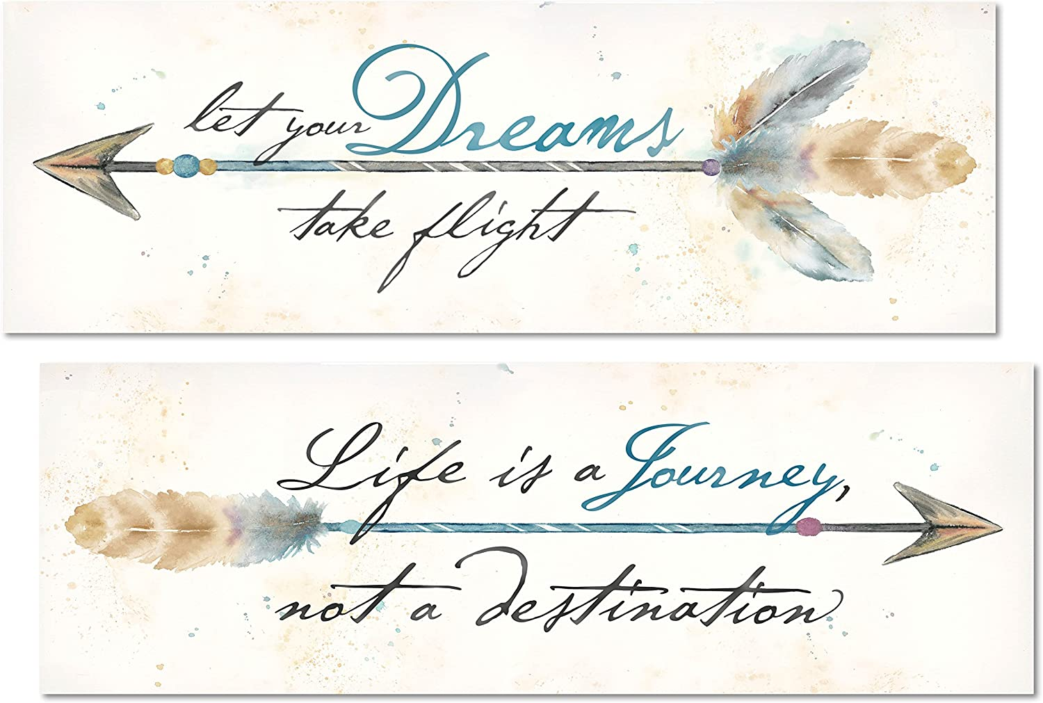 "Beautiful Inspirational Watercolor-Style Arrows ""Let Your Dreams Take Flight"" and ""Life Is A Journey, Not A Destination""; Two 18x8in Unframed Paper Posters"