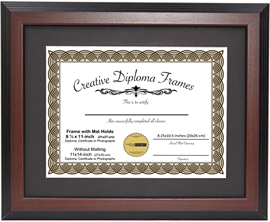 Custom Picture FrameMedium and Dark BrownGreat for Photos /& Certificates
