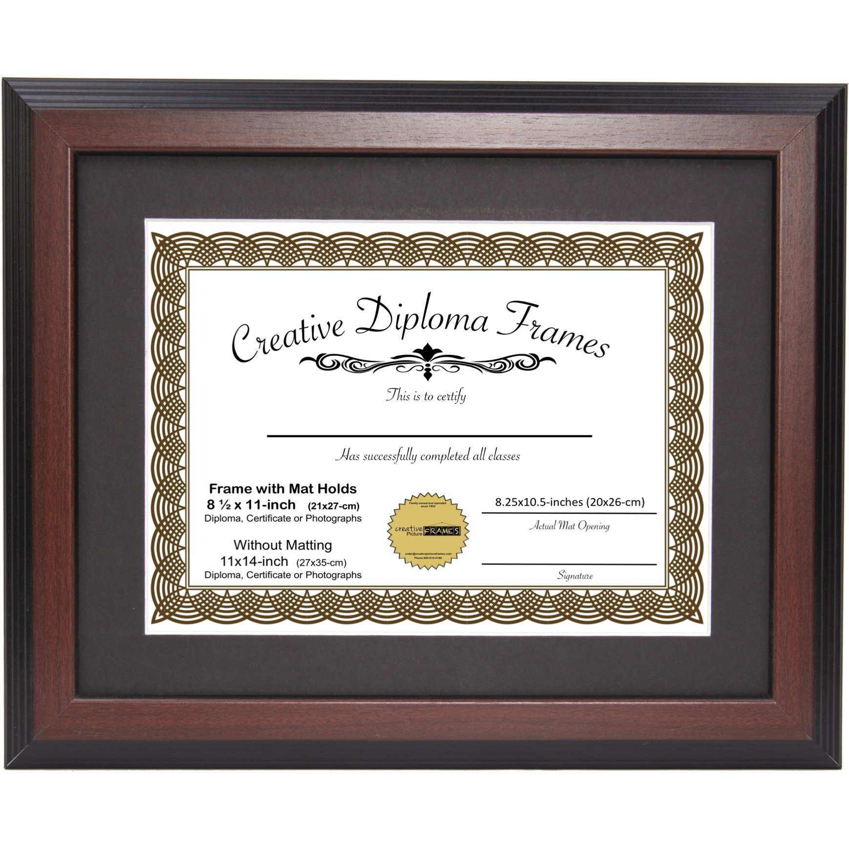 CreativePF [11x14mh-b] Mahogany Diploma Frame with Black Mat to Hold 8.5 by 11-inch Graduation Documents with Installed Wall Hanger by Creative Picture Frames