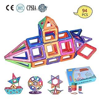 LEEHUR Magnetic Building Toys for Girls Boys, 94 Pcs Stacking Blocks Set STEM Educational Toys Construction Kit with Storage Bag for Kids Toddlers