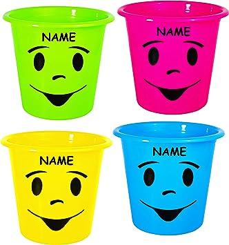 1 Stück _ Papierkorb Mülleimer Blumentopf lustiges Gesicht bunt NEON Farben incl. Name Eimer auch als Blumentopf nutzbar Behälter 5