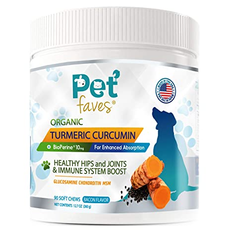 Natural Dog Hip & Joint Supplement for Dogs Arthritis Pain Relief  Turmeric  Curcumin with Black Pepper for Anti Inflammatory  Tumeric MSM Glucosamine
