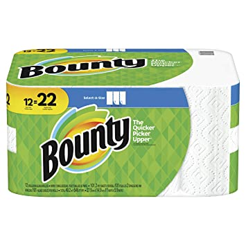Bounty Quick-Size Paper Towels, 12 Family Rolls, White (Packaging May Vary