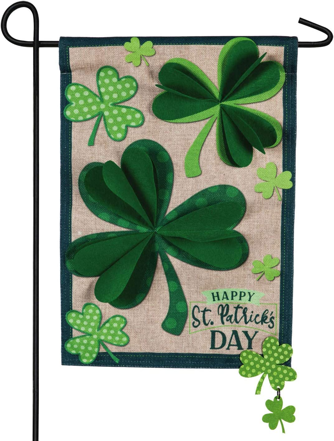 Evergreen Flag Shamrocks 3D Garden Burlap Flag - 12.5 x 18 Inches Outdoor Decor for Homes and Gardens