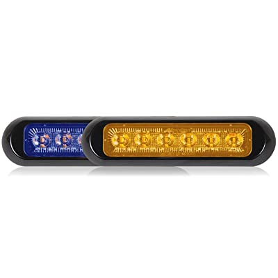 Maxxima M20389BYCL-DC Blue/Amber Thin Low Profile Dual Color LED Warning Light Clear Lens: Automotive