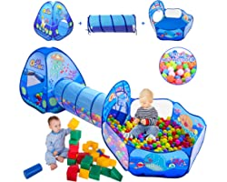3 in 1 Kids Play Tent with Play Tunnel, Ball Pit, Basketball Hoop for Boys & Girls, Toddler Pop Up Playhouse Toy for Baby Ind