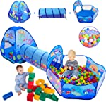 3 in 1 Kids Play Tent with Play Tunnel, Ball Pit,