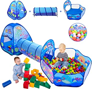3 in 1 Kids Play Tent with Play Tunnel, Ball Pit, Basketball Hoop for Boys & Girls, Toddler Pop Up Playhouse Toy for Baby Indoor/Outdoor, Gift for Year Old Child-ASTM Certifid (3 in 1 Kids Play Tent)