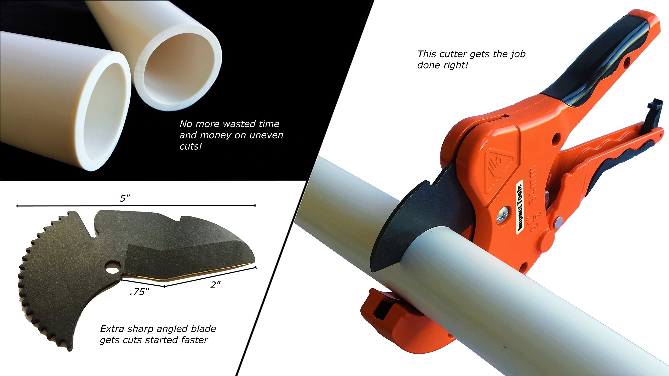 PVC Pipe Cutter | Cuts up to 2.5 Inch Diameter | One Handed Heavy Duty Ratchet Plastic Pipe and Tube Cutter Tool for PVC CPVC PEX PE PPR and more | Perfect for Plumbing and Irrigation Pipe by Impact Tools (Image #3)